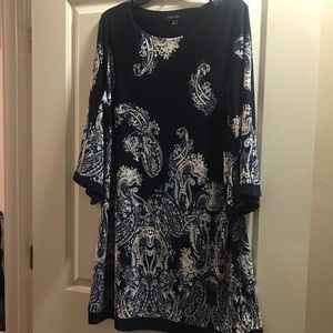 Cute navy blue with white print dress